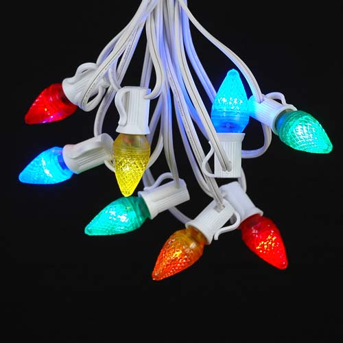 Picture of 25 Light String Set with Multi LED C7 Bulbs on White Wire