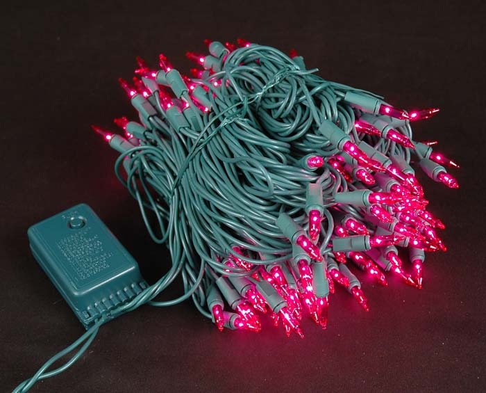 Picture of Pink Multi Function Chasing Christmas Lights - 140 Light Chasing Pink Multi Function Mini Lights - Novelty Lights Inc