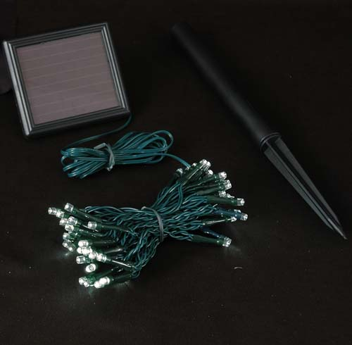 Picture of Warm White LED Solar Powered Lights 50 Light String Green Wire