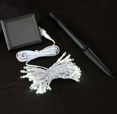 picture of warm white led solar powered lights 50 light string white wire