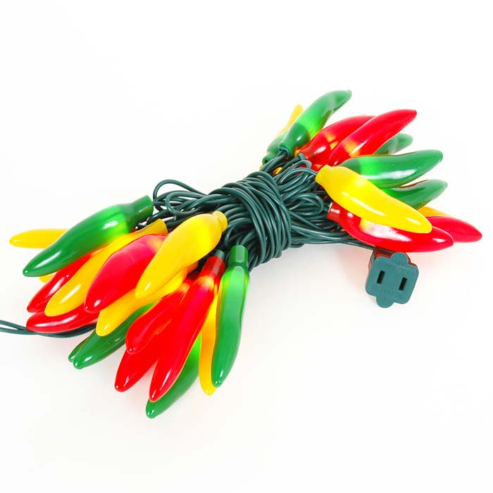 Picture of Red Green Yellow Fiesta Chili Pepper String lights 35 Count