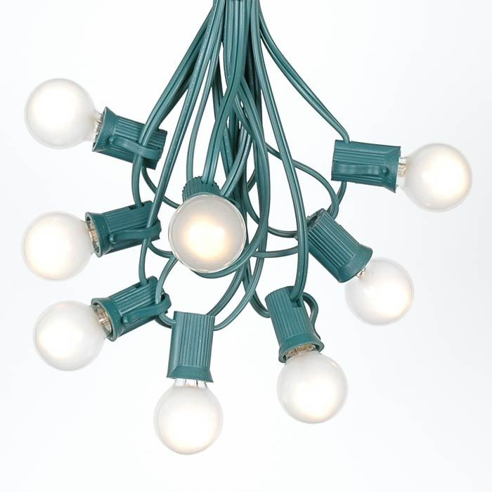 Picture of 25 G30 Globe Light String Set with Frosted White Bulbs on Green Wire