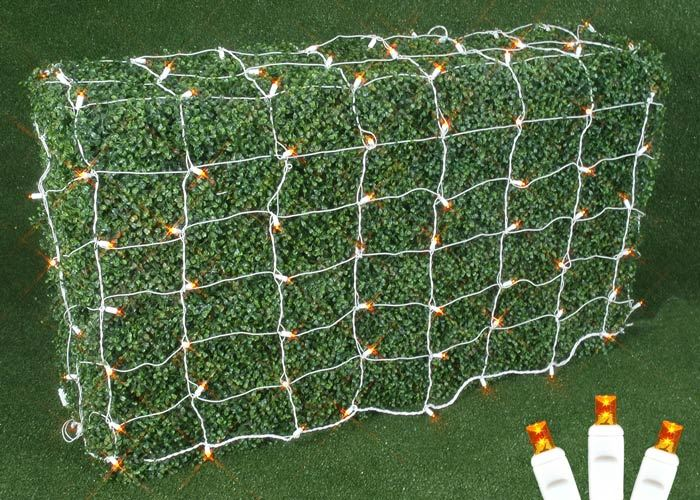 Picture of Amber/Orange LED Net Lights, White Wire 4x6