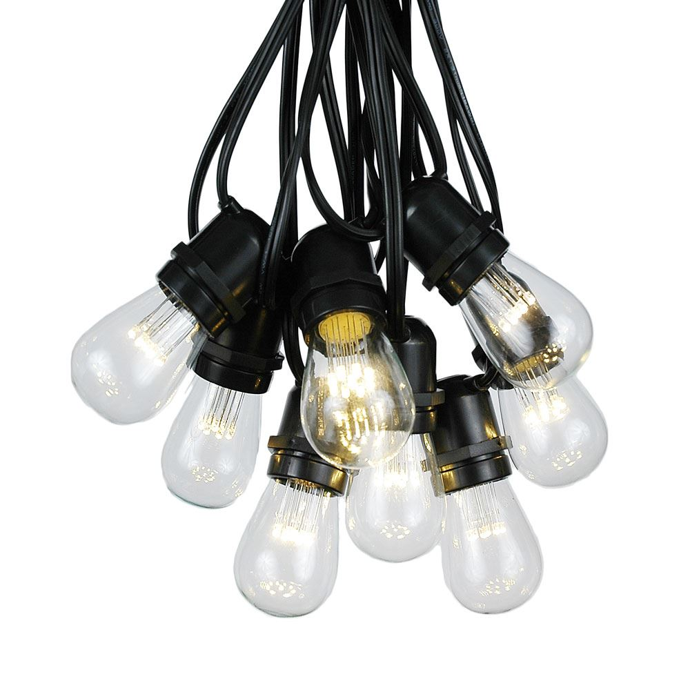 Picture of 50 LED S14 Warm White Commercial Grade Light String Set on 100' of Black Wire