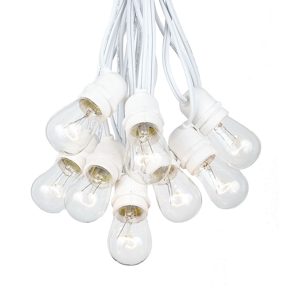 Picture of  50 Clear S14 Commercial Grade Light String Set on 100' of White Wire