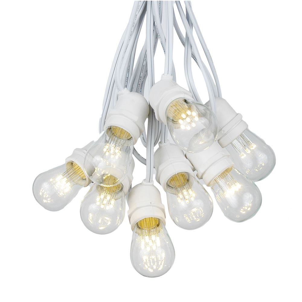 Picture of 50 LED S14 Warm White Commercial Grade Light String Set on 100' of White Wire