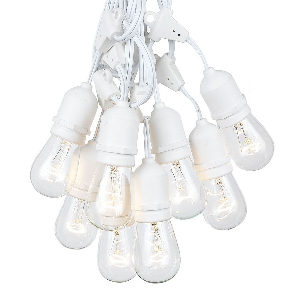 Picture of 50 Clear S14 Commercial Grade Suspended Light String Set on 100' of White Wire