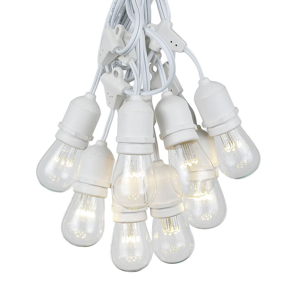 Picture of 50 LED S14 Warm White Commercial Grade Suspended Light String Set on 100' of White Wire