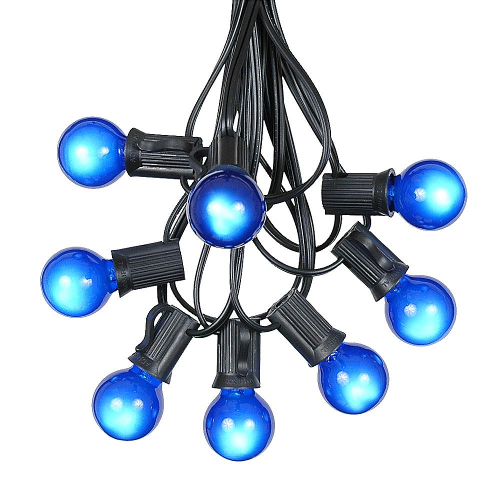 Picture of 100 G30 Globe String Light Set with Blue Satin Bulbs on Black Wire