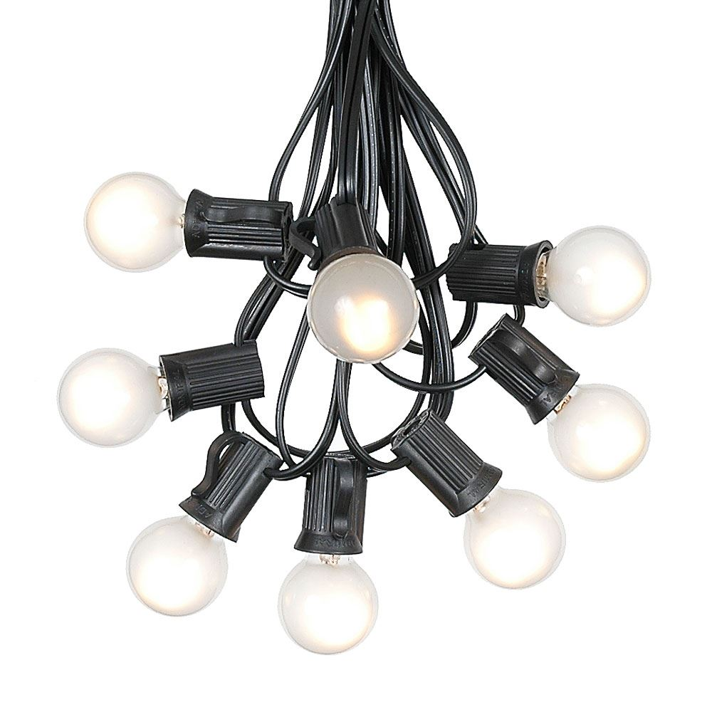 Picture of 100 G30 Globe String Light Set with Frosted White Bulbs on Black Wire