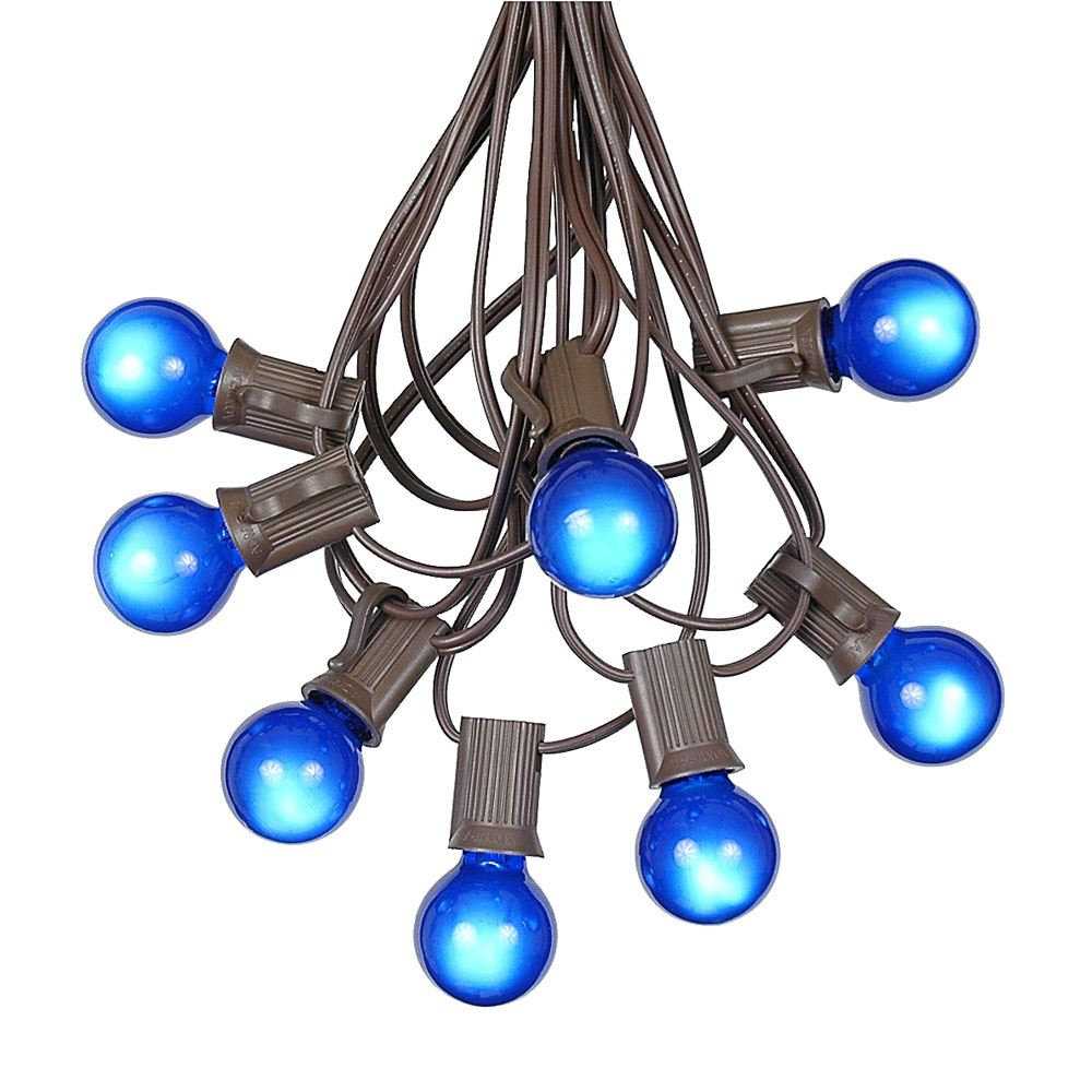Picture of 100 G30 Globe String Light Set with Blue Satin Bulbs on Brown Wire