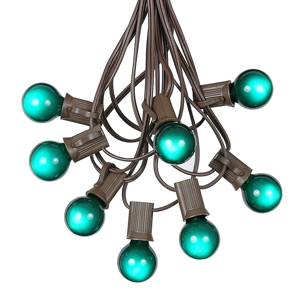Picture of 100 G30 Globe String Light Set with Green Satin Bulbs on Brown Wire