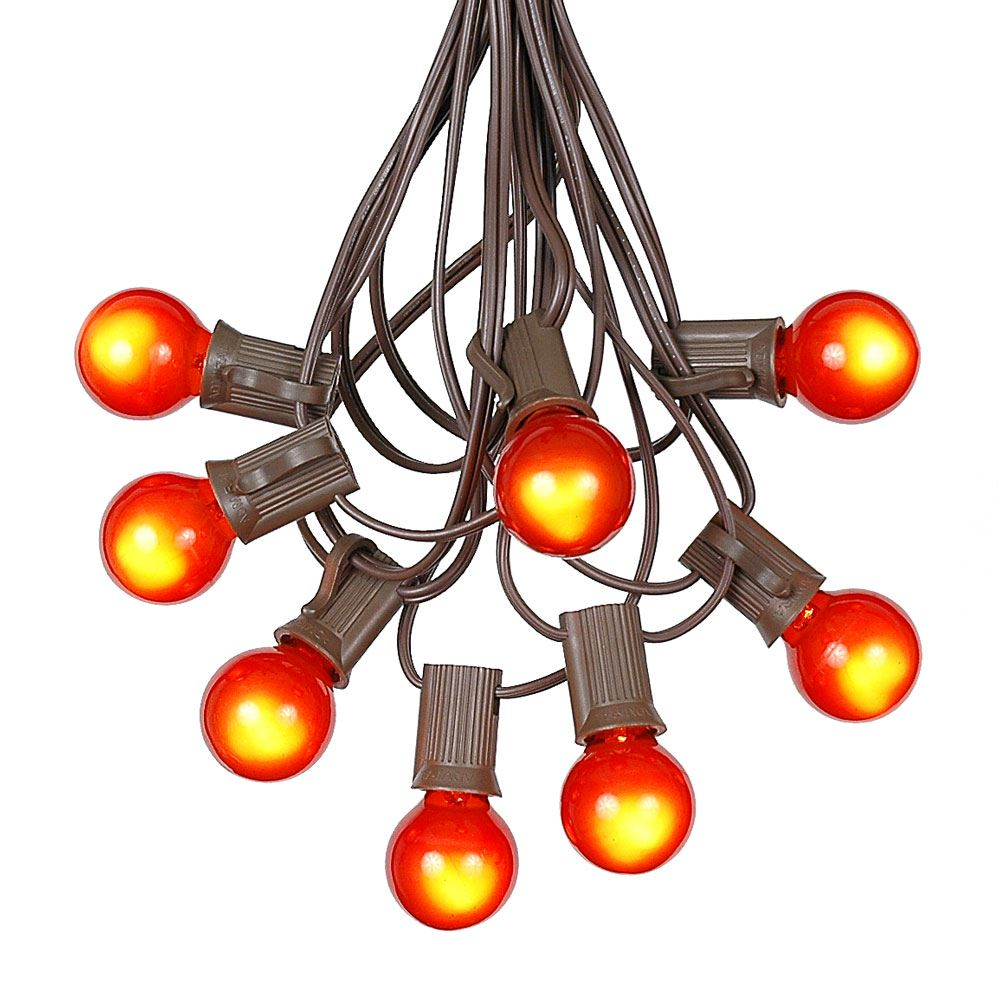 Picture of 100 G30 Globe String Light Set with Orange Satin Bulbs on Brown Wire