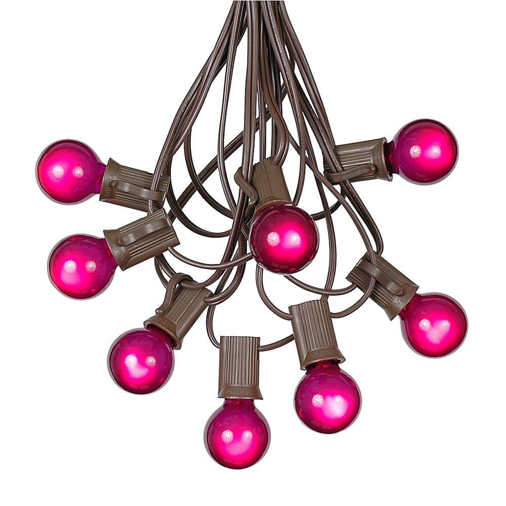 Picture of 100 G30 Globe String Light Set with Purple Satin Bulbs on Brown Wire