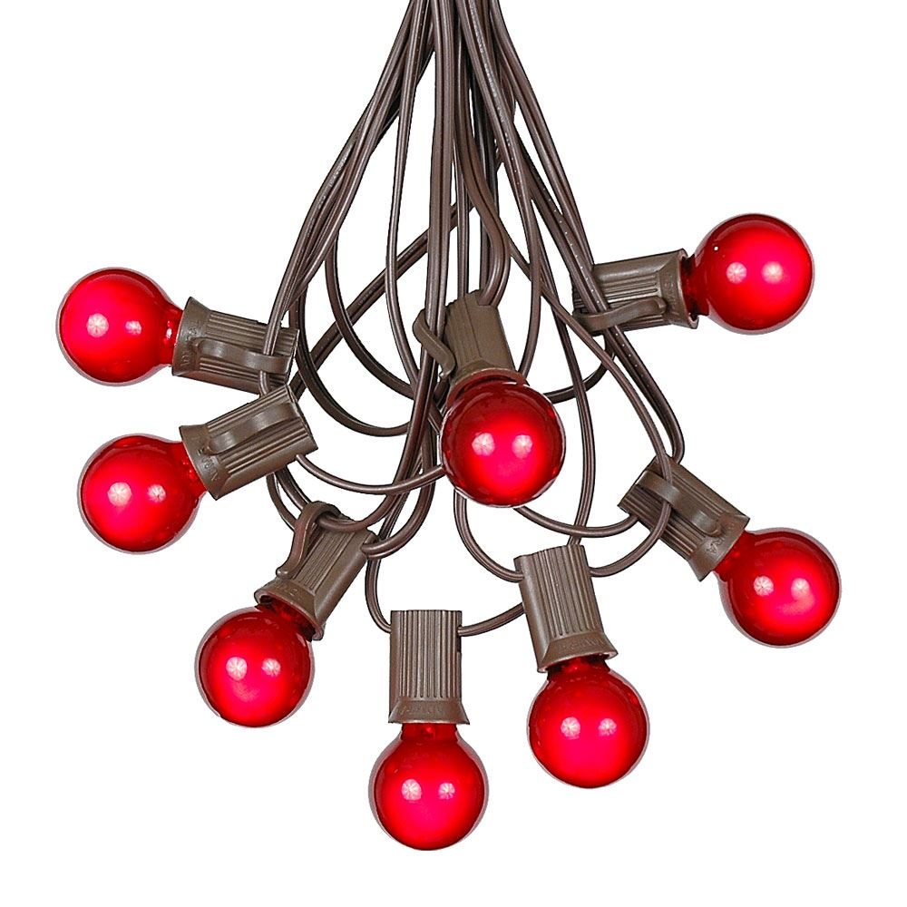 Picture of 100 G30 Globe String Light Set with Red Satin Bulbs on Brown Wire