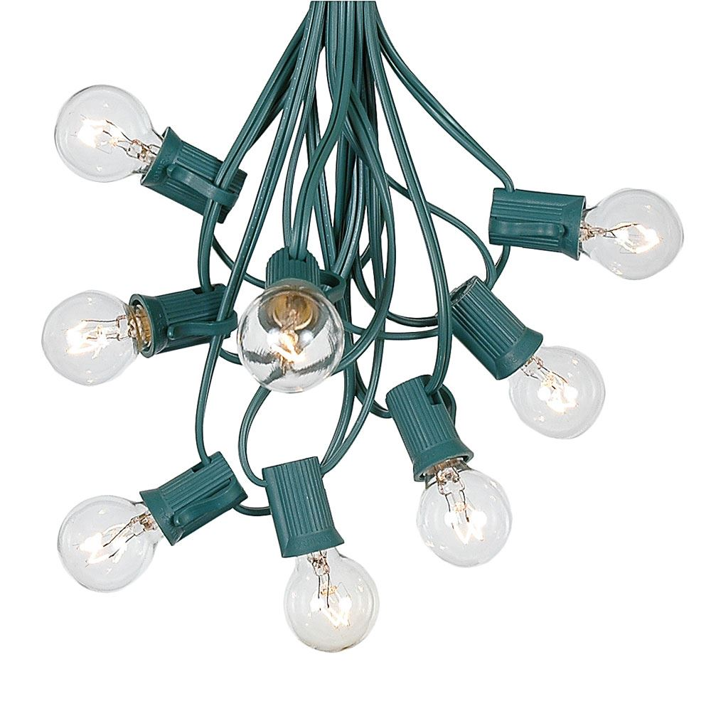 Picture of 100 G30 Globe String Light Set with Clear Bulbs on Green Wire