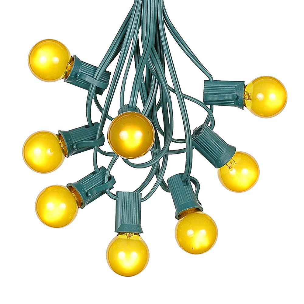 Picture of 100 G30 Globe String Light Set with Yellow Satin Bulbs on Green Wire
