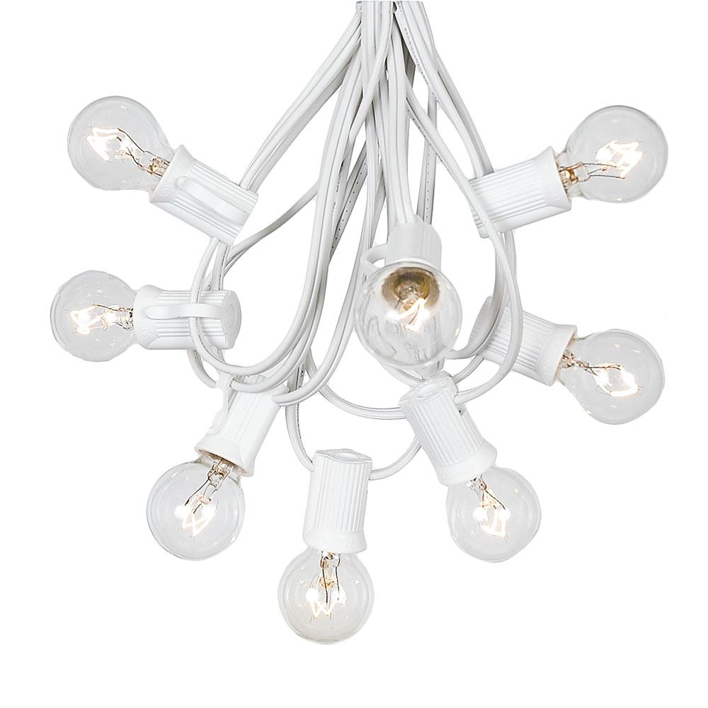 Picture of 100 G30 Globe String Light Set with Clear Bulbs on White Wire