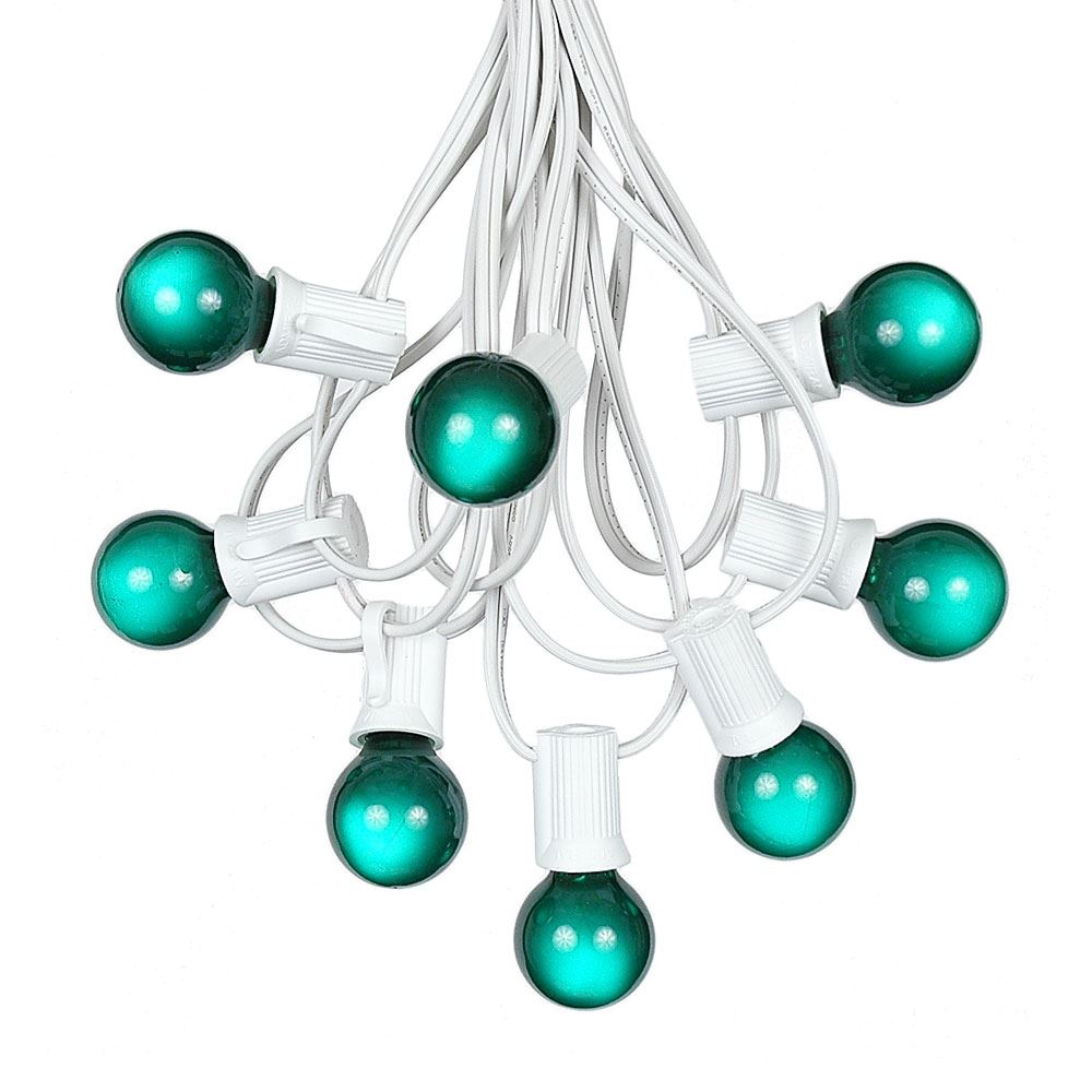 Picture of 100 G30 Globe String Light Set with Green Satin Bulbs on White Wire