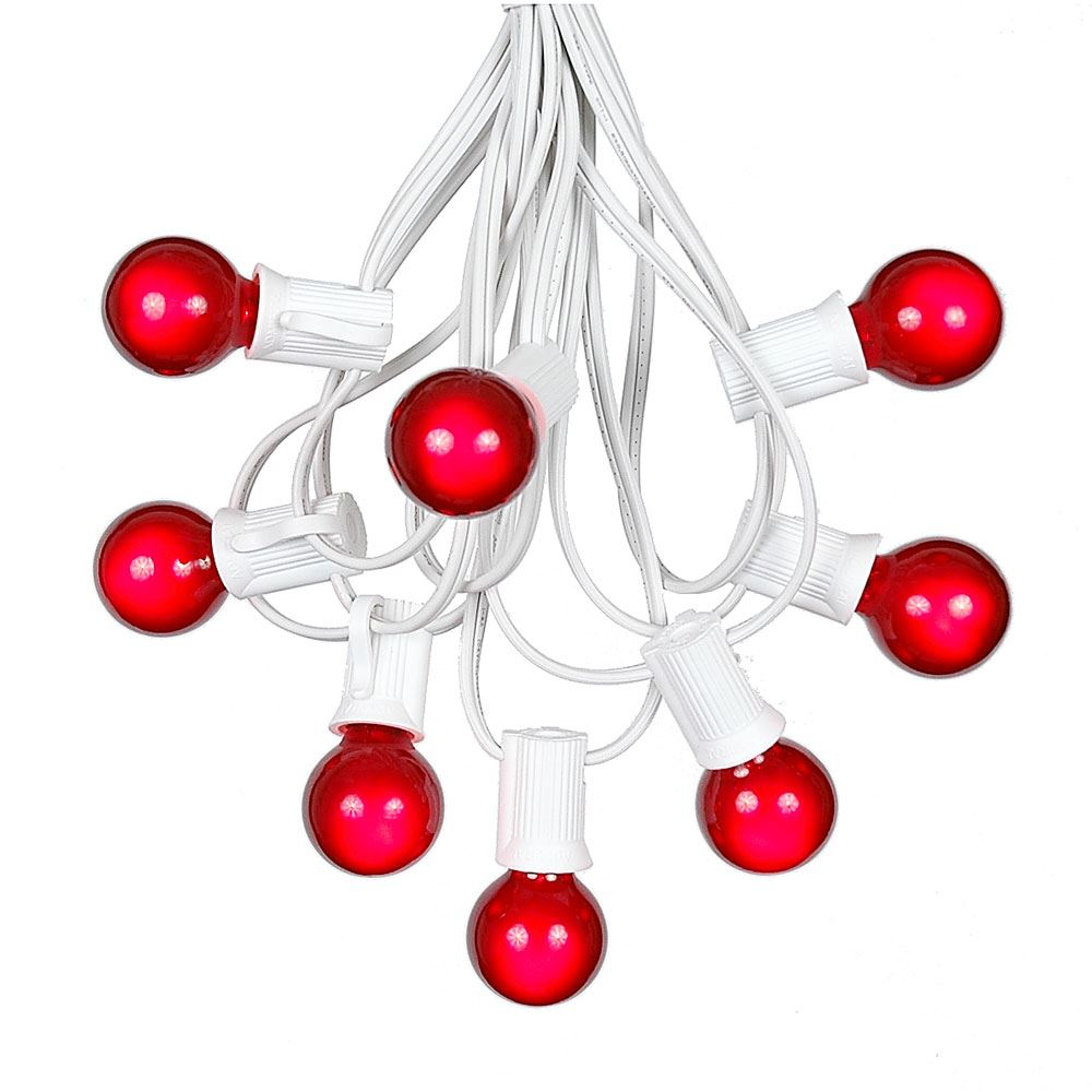 Picture of 100 G30 Globe String Light Set with Red Satin Bulbs on White Wire