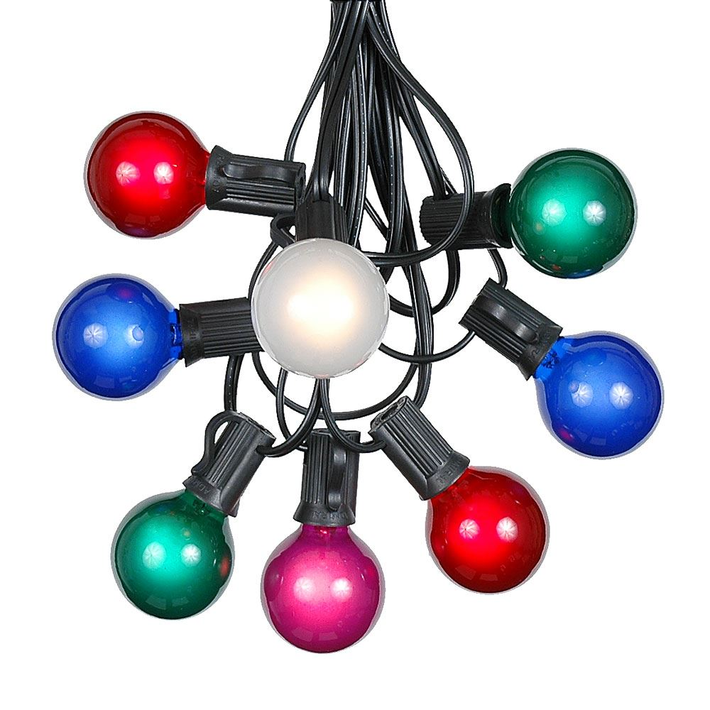 Picture of 100 G40 Globe String Light Set with Multi Colored Bulbs on Black Wire