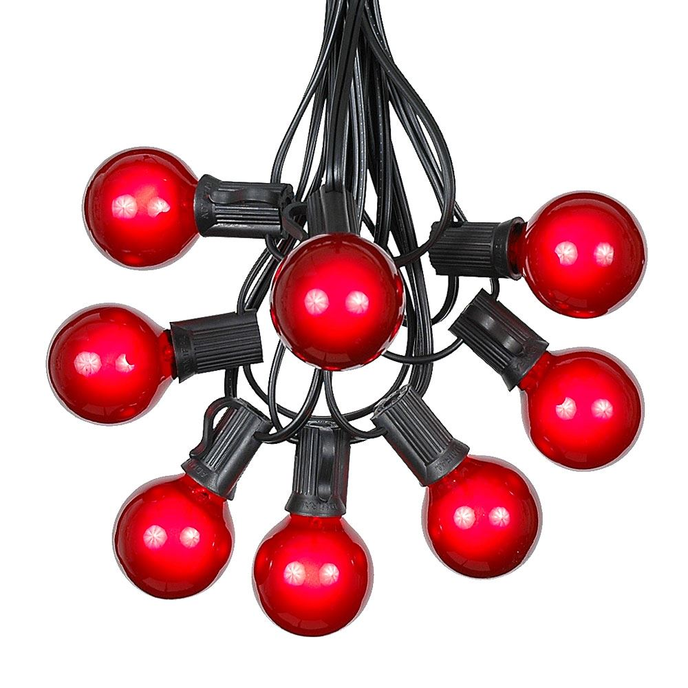 Picture of 100 G40 Globe String Light Set with Red Bulbs on Black Wire
