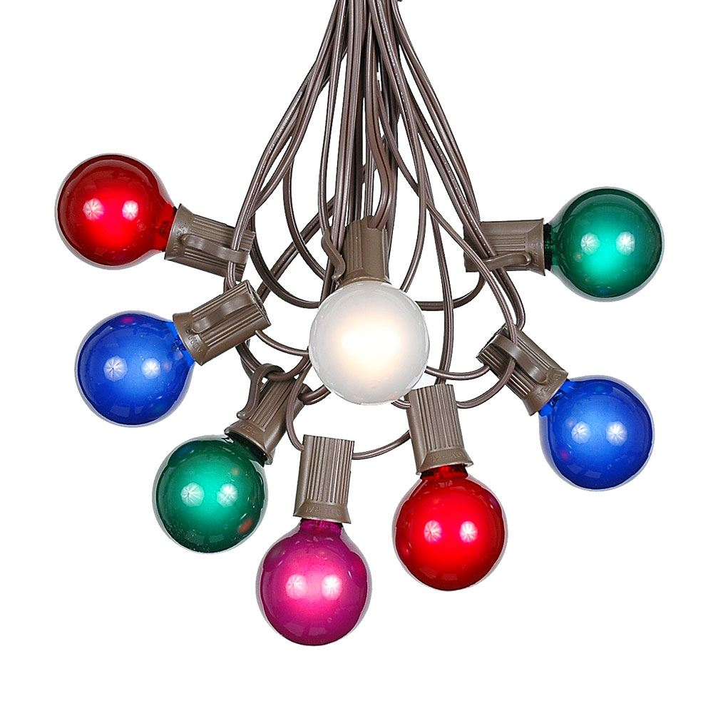 Picture of 100 G40 Globe String Light Set with Multi Colored Bulbs on Brown Wire