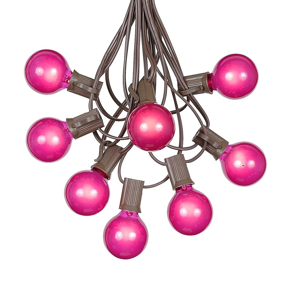 Picture of 100 G40 Globe String Light Set with Pink Bulbs on Brown Wire