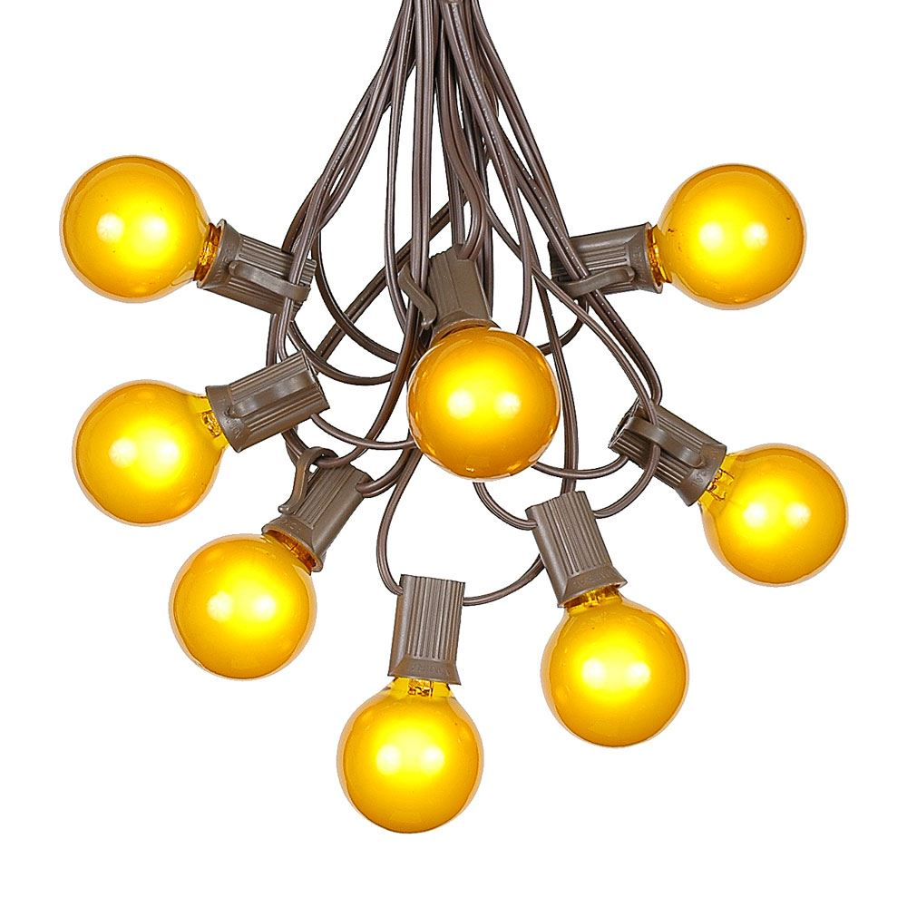 Picture of 100 G40 Globe String Light Set with Yellow Bulbs on Brown Wire