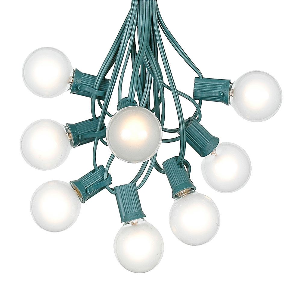 Picture of 100 G40 Globe String Light Set with Frosted White Bulbs on Green Wire