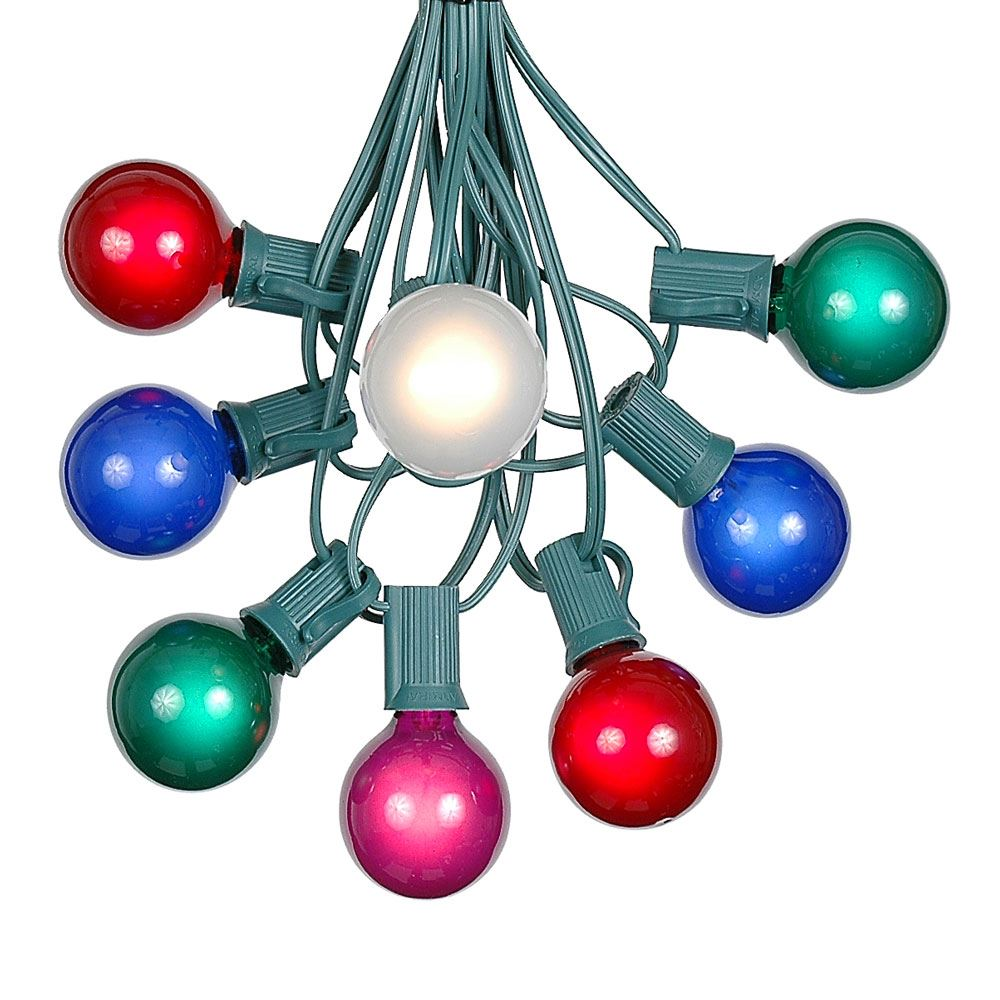 Picture of 100 G40 Globe String Light Set with Multi Colored Bulbs on Green Wire
