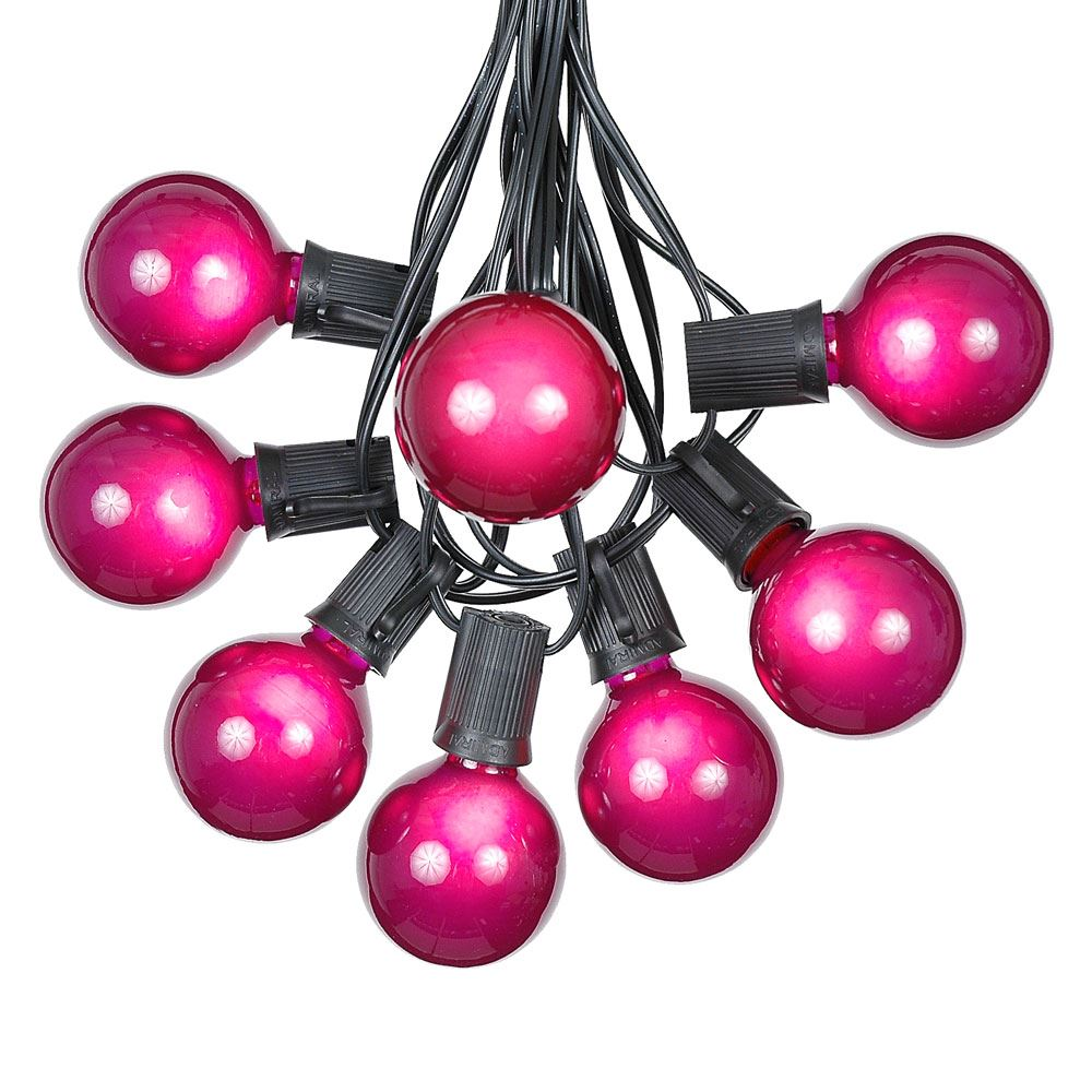 Picture of 100 G50 Globe Light String Set with Purple Bulbs on Black Wire