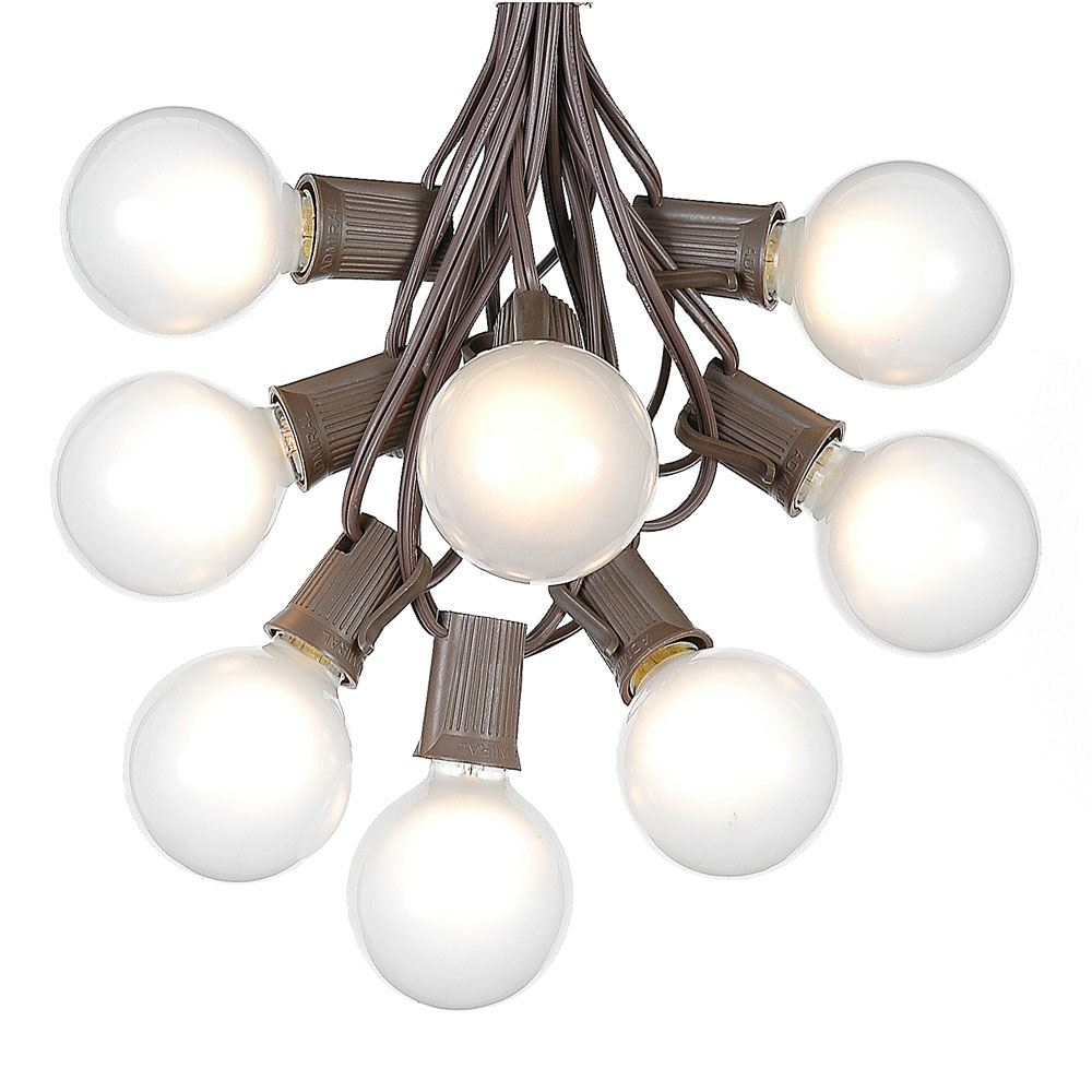 Picture of 100 G50 Globe Light String Set with Frosted Bulbs on Brown Wire