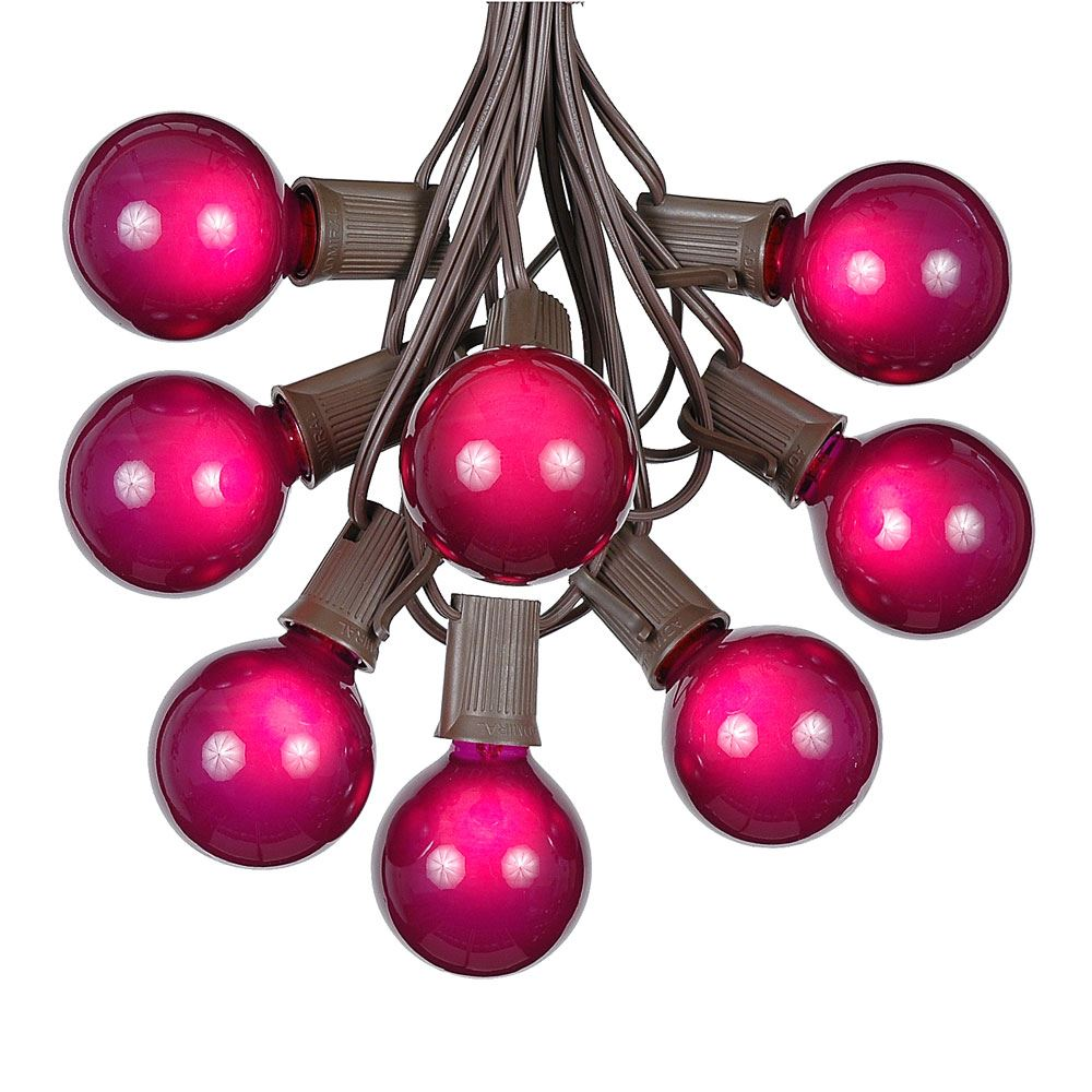 Picture of 100 G50 Globe Light String Set with Purple Bulbs on Brown Wire