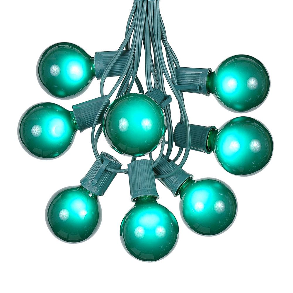 Picture of 100 G50 Globe Light String Set with Green on Green Wire