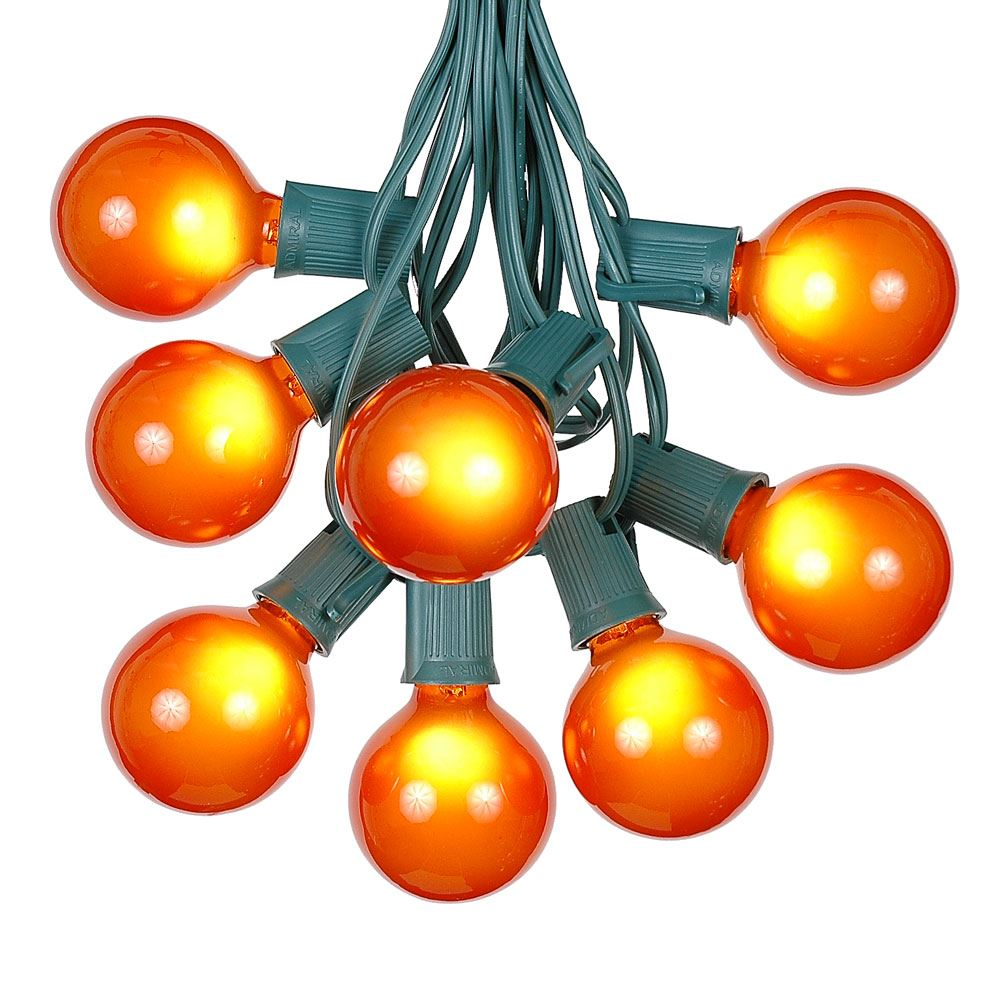 Picture of 100 G50 Globe Light String Set with Orange on Green Wire