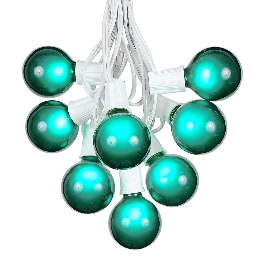 Picture of 100 G50 Globe Light String Set with Green Bulbs on White Wire