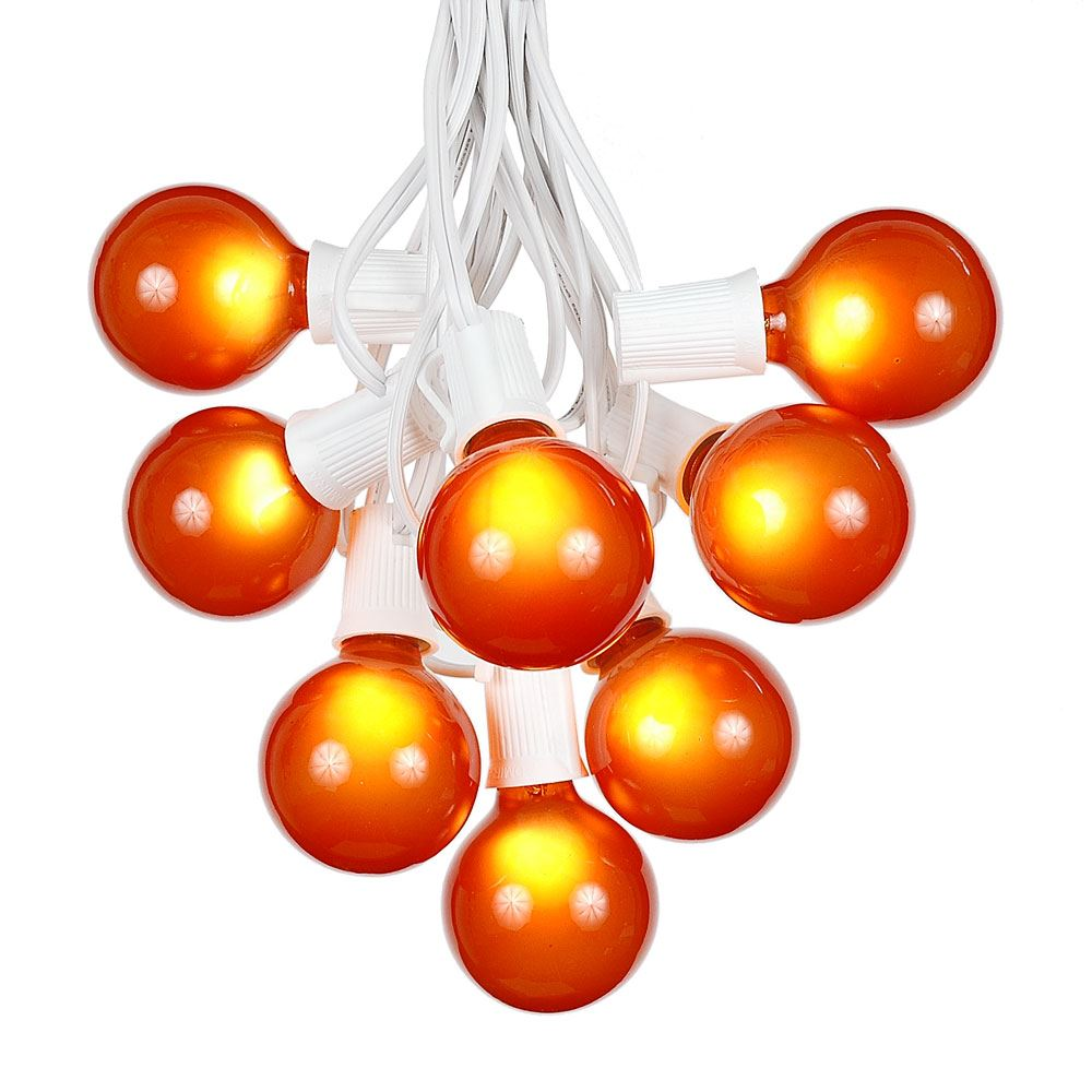 Picture of 100 G50 Globe Light String Set with Orange Bulbs on White Wire
