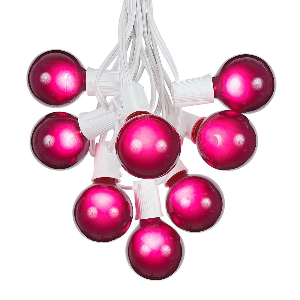 Picture of 100 G50 Globe Light String Set with Purple Bulbs on White Wire