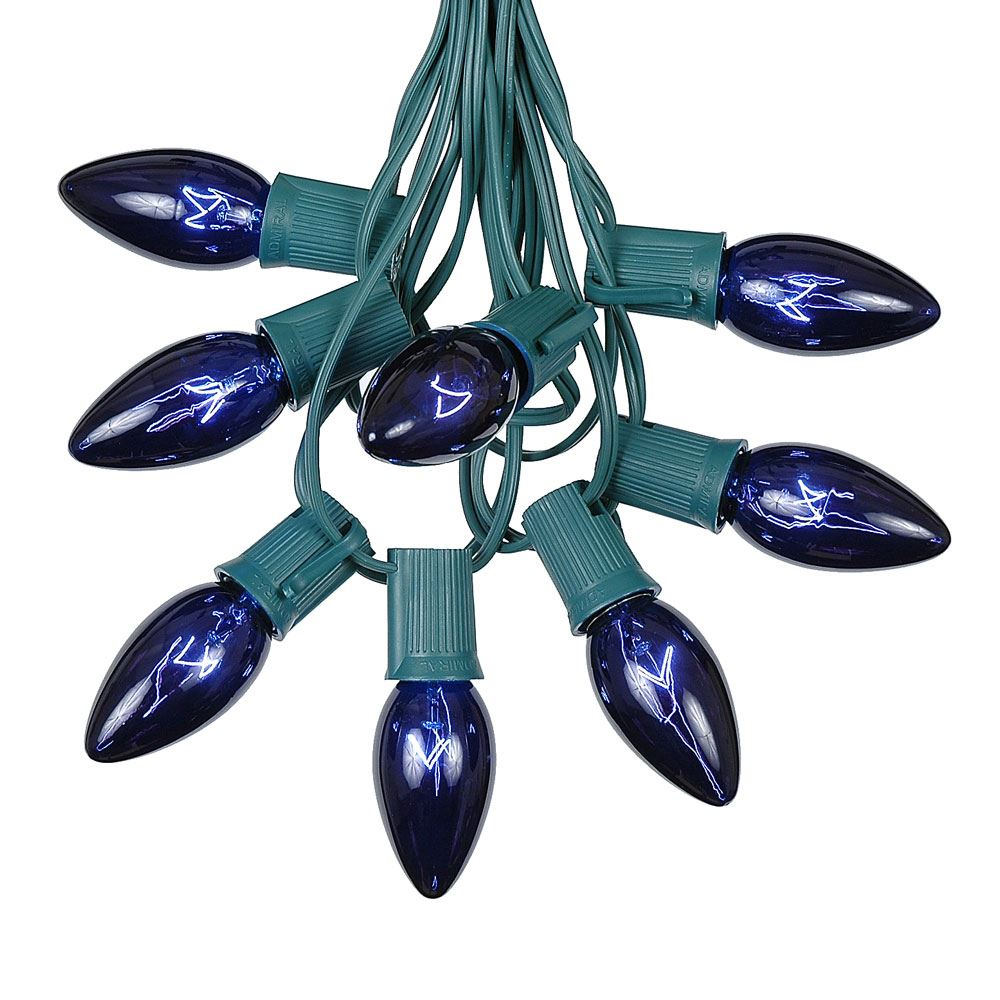 Picture of C9 25 Light String Set with Blue Bulbs on Green Wire