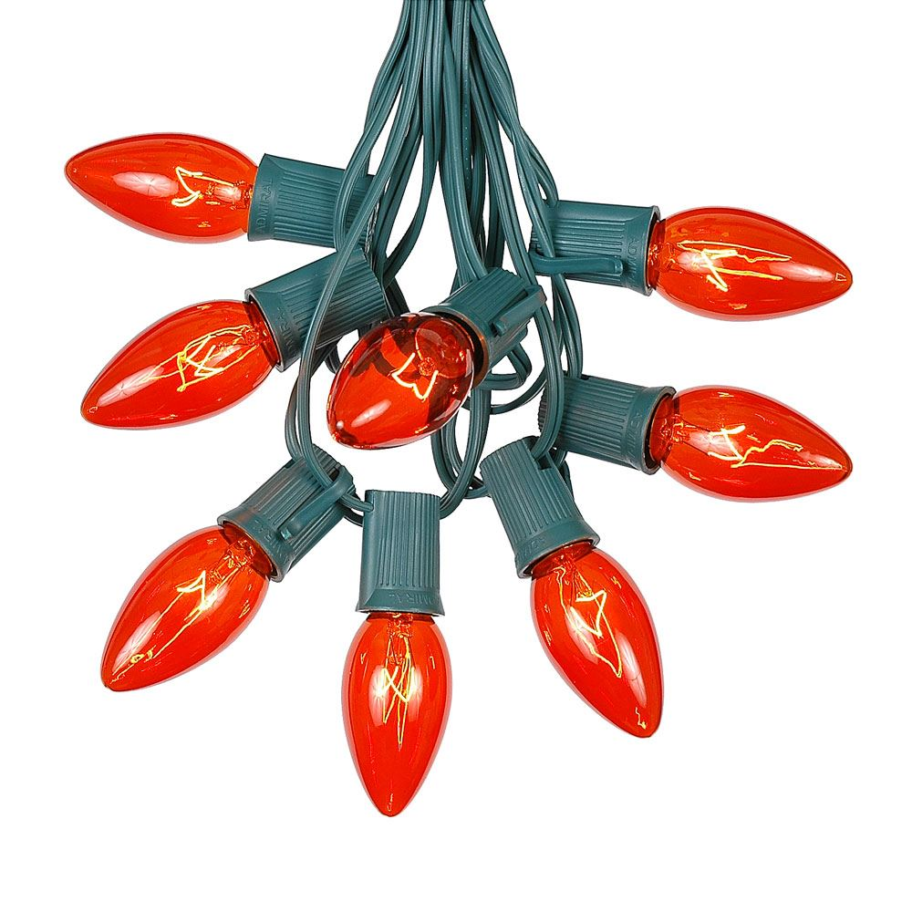 Picture of C9 25 Light String Set with Orange Bulbs on Green Wire