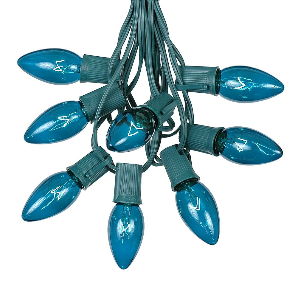 Picture of C9 25 Light String Set with Teal Bulbs on Green Wire