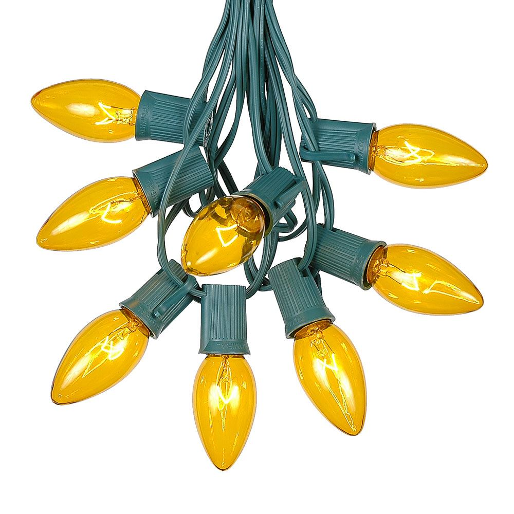 Picture of C9 25 Light String Set with Yellow Bulbs on Green Wire