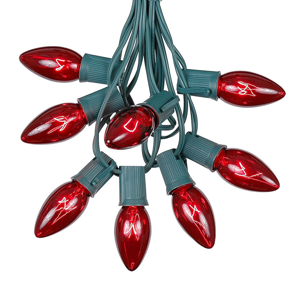 Picture of 100 C9 Christmas Light Set - Red Bulbs - Green Wire