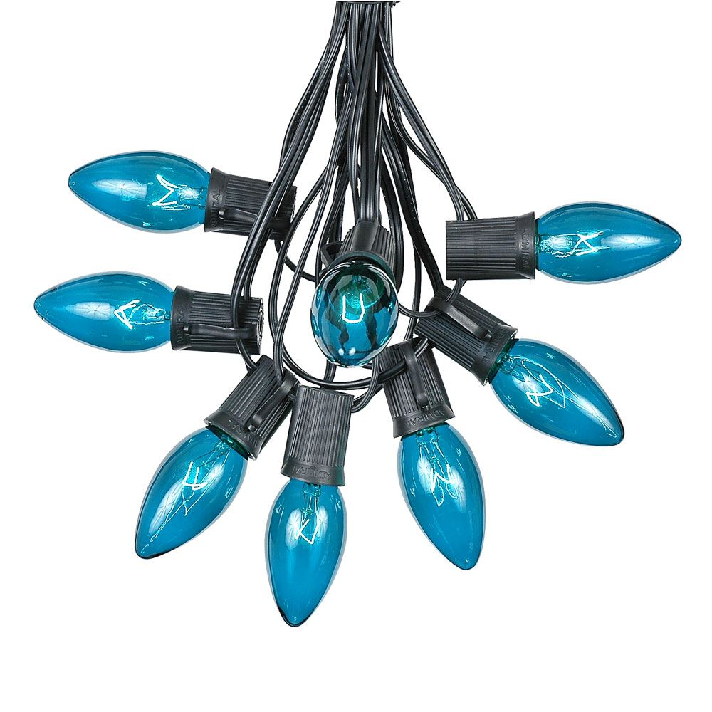 Picture of 100 C9 Christmas Light Set - Teal Bulbs - Black Wire