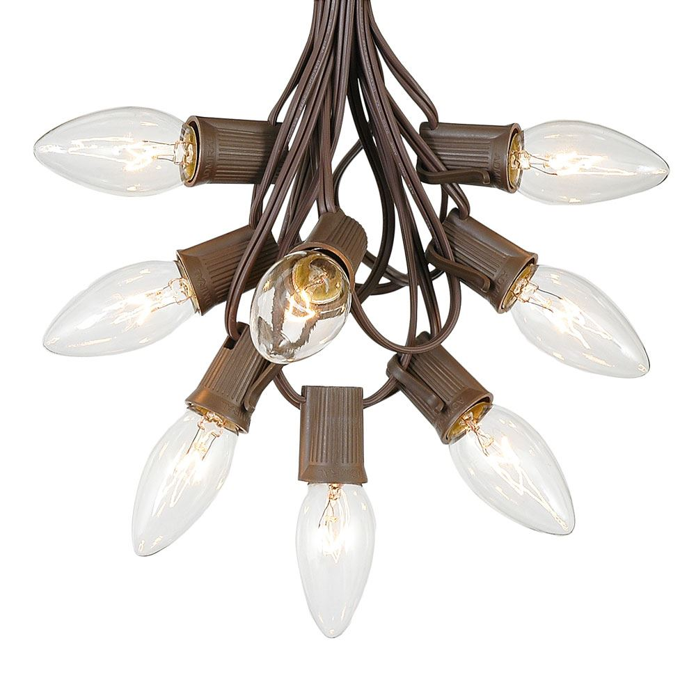 Picture of 100 C9 Christmas Light Set - Clear Bulbs - Brown Wire
