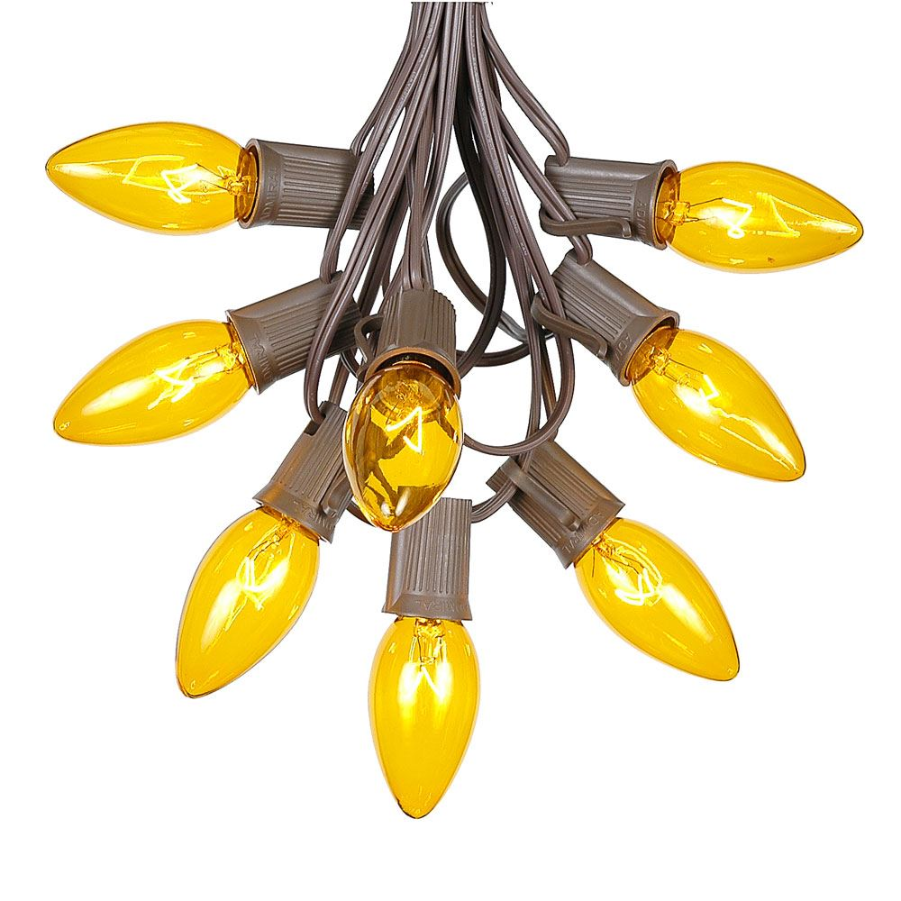 Picture of 100 C9 Christmas Light Set - Yellow Bulbs - Brown Wire