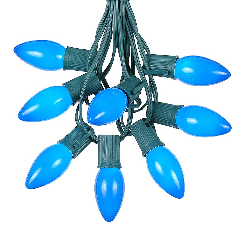 Picture of 100 C9 Ceramic Christmas Light Set - Blue - Green Wire