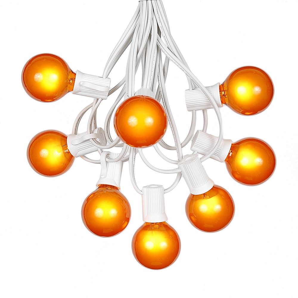Picture of 100 G40 Globe String Light Set with Orange Satin Bulbs on White Wire