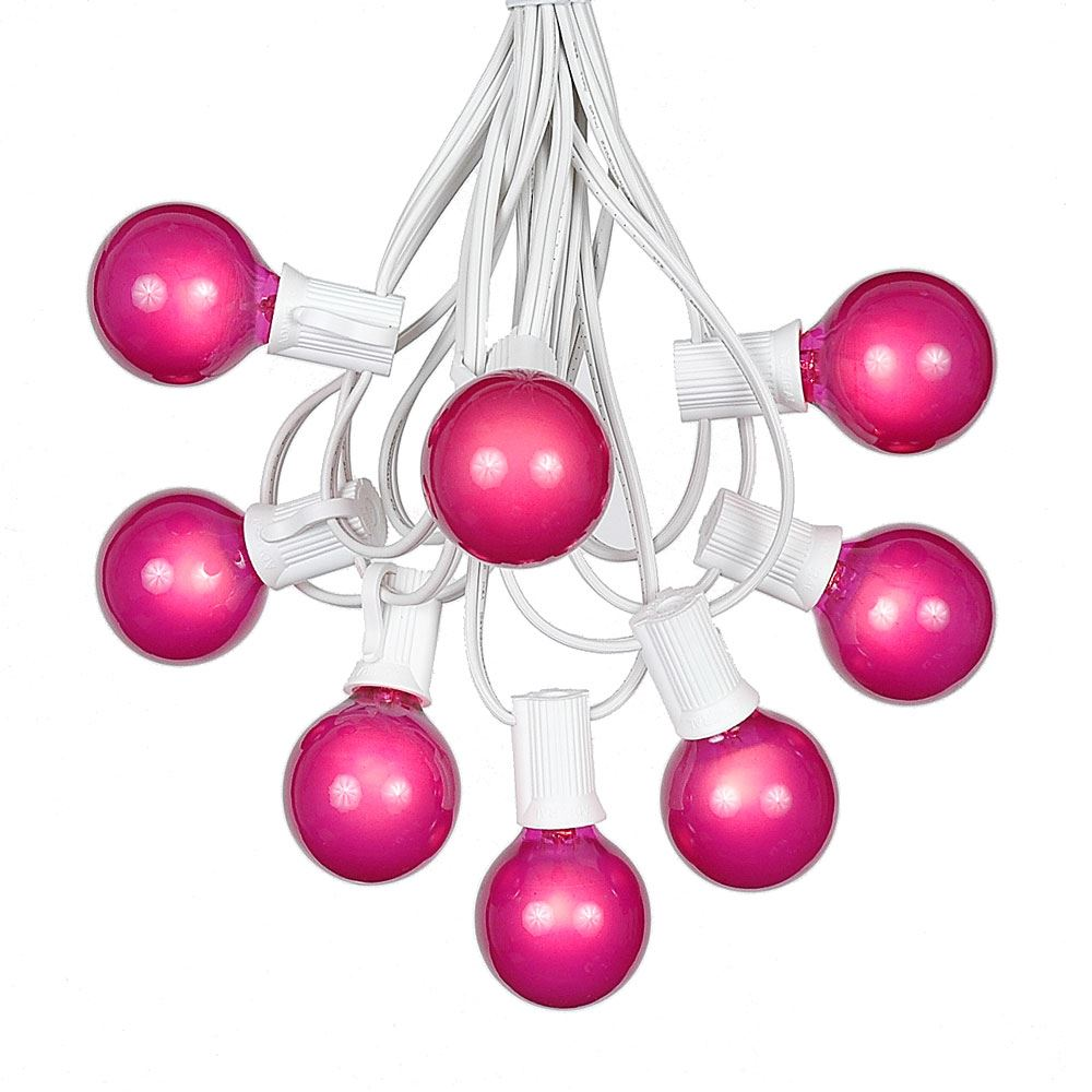 Picture of 100 G40 Globe String Light Set with Pink Satin Bulbs on White Wire